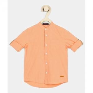 Provogue Boys Solid Casual Orange Shirt