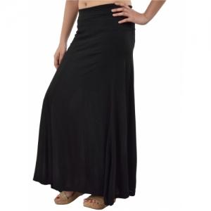 Timbre Women's Black Plain Viscose Maxi Skirt Skirt