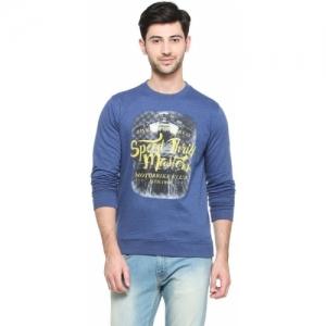 Peter England Blue Polycotton Full Sleeve Printed Men Sweatshirt