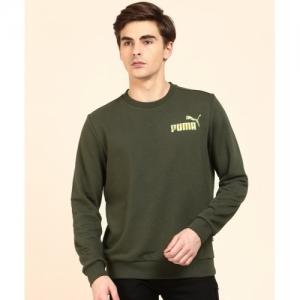 Puma Green Cotton Blend Full Sleeve Solid Sweatshirt