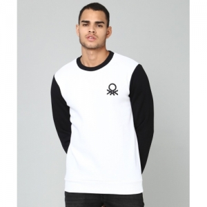 United Colors of Benetton White & Black Full Sleeve Solid Sweatshirt