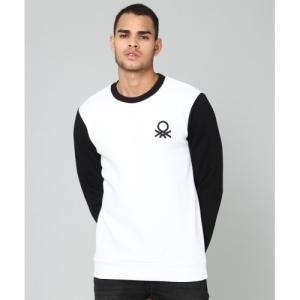 United Colors of Benetton White & Black Full Sleeve Solid Sweatshirt
