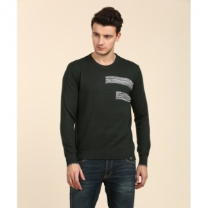 Lee Green Cotton Solid Round Neck Casual Sweater