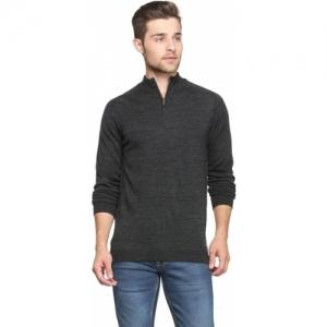 Peter England Grey Self Design High Neck Sweater