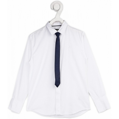 Gini & Jony Boys Solid Casual White Shirt