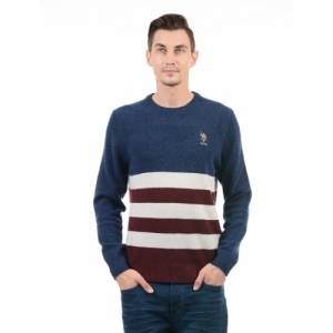 U.S. Polo Assn Dark Blue Striped Round Neck Casual Sweater