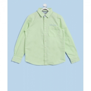 Pepe Jeans Boys Solid Casual Light Green Shirt