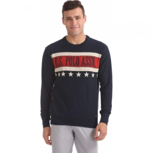U.S. Polo Assn Blue Solid Round Neck Casual Sweater