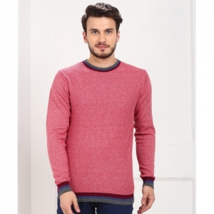 Peter England Red Cotton Self Design Round Neck Sweater