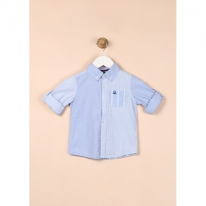 United Colors of Benetton Boys Striped Casual Light Blue Shirt