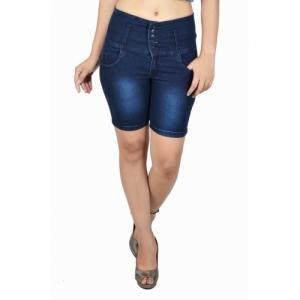 Nifty Solid Women Blue Denim Shorts