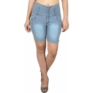 Nifty Solid Women Denim Grey Denim Shorts