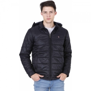 Forest Club Black Nylon Light Quilted Full Sleeve Solid Men Jacket