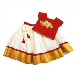 Stanwells kids Red Golden Silk Designer Traditional Kerala Kids Lehenga Choli