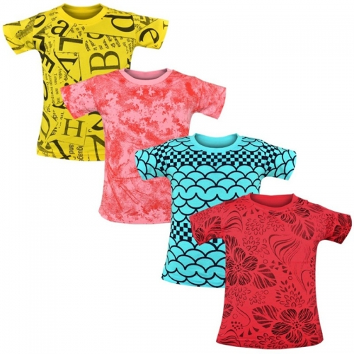 Luke and Lilly Multicolor Printed Cotton Blend T Shirt(,Pack of 4)