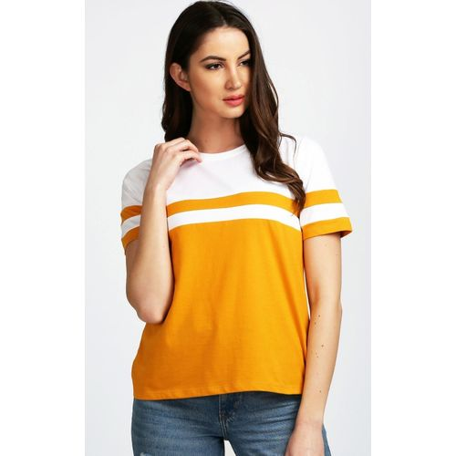 e6e13643b Buy Aelomart Casual Half Sleeve Striped Women Yellow, White Top online |  Looksgud.in