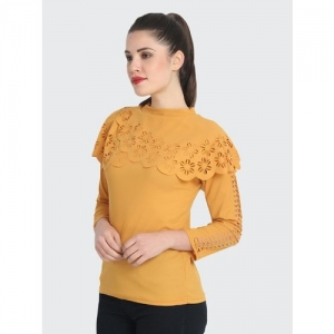 BuyNewTrend Casual 3/4 Sleeve Solid Women Yellow Top