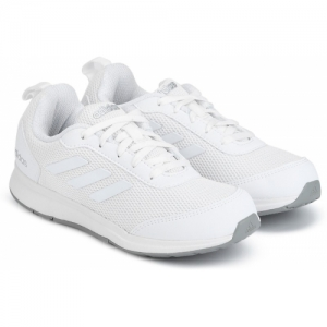 ADIDAS White Mesh Lace Up Running Shoes