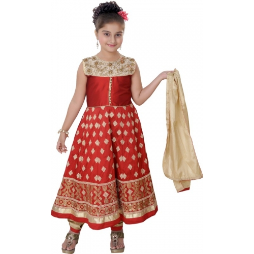 Saarah Red Cotton Festive & Party Kurta, Churidar & Dupatta Set