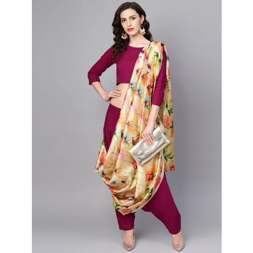 Nayo Magenta & Cream-Coloured Printed Ready To Wear Dhoti Saree