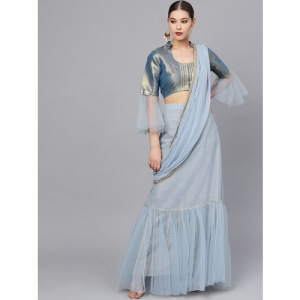 Inddus Blue Striped Ruffled Lehenga Saree