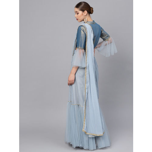 Inddus Blue Striped Ruffled Lehenga Saree