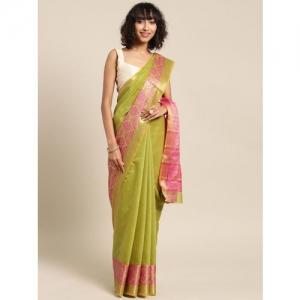 Blissta Green Solid Cotton Silk Saree