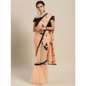 Inddus Peach-Coloured & Black Half and Half Dyed Saree