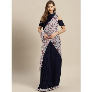 Inddus Navy Blue & White Printed Lehenga Saree