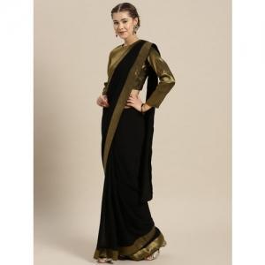 Inddus Black Solid Saree
