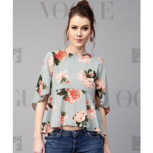 Sassafras Casual Short Sleeve Floral Print Women Grey Top