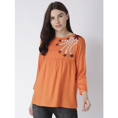 MsFQ Casual 3/4 Sleeve Embroidered Women Orange Top