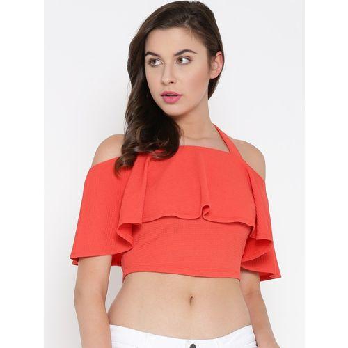 Veni Vidi Vici Casual Shoulder Strap Solid Women Orange Top