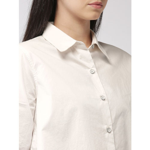 FOREVER 21 Women White Regular Fit Solid Casual Shirt