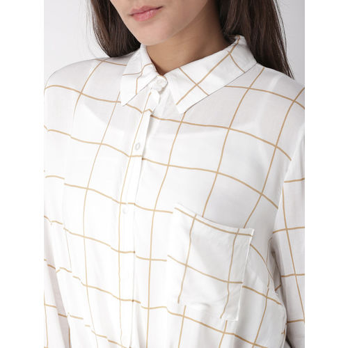 FOREVER 21 Women White & Beige Regular Fit Checked Casual Shirt