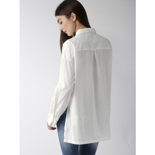 FOREVER 21 Women White Solid High-Low Hem Shirt