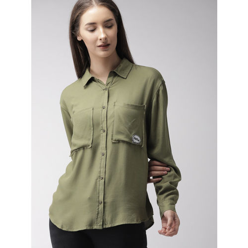 FOREVER 21 Women Olive Green Regular Fit Solid Casual Shirt