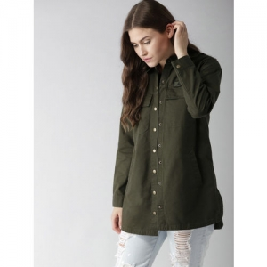 FOREVER 21 Women Olive Green Regular Fit Solid Shacket