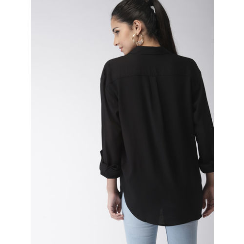 FOREVER 21 Women Black Regular Fit Solid Casual Shirt