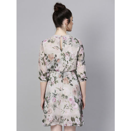 SASSAFRAS Women Grey & Green Floral Print Fit and Flare Dress