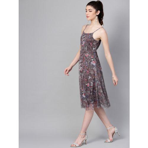 SASSAFRAS Women Mauve Printed A-Line Net Dress