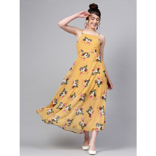 SASSAFRAS Women Mustard Yellow Floral Print Maxi Dress
