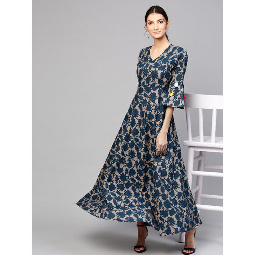 SASSAFRAS Women Navy Blue & Taupe Printed Tiered Maxi Dress