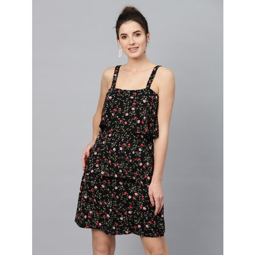 SASSAFRAS Women Black & Red Printed Layered A-Line Dress