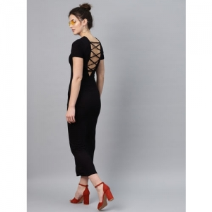 SASSAFRAS Black Cotton Solid Styled Back Maxi Dress