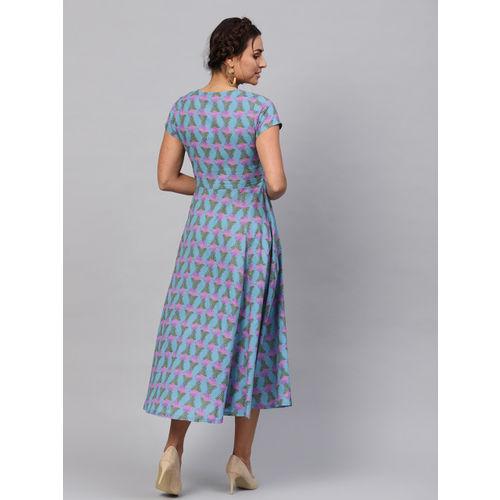 SASSAFRAS Women Blue & Pink Printed A-Line Dress