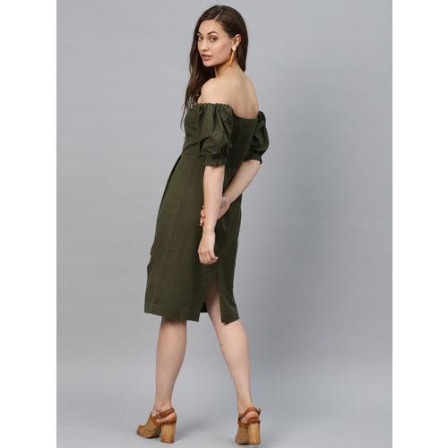 SASSAFRAS Women Olive Green Solid Off-Shoulder Sheath Dress