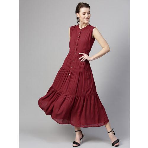SASSAFRAS Women Maroon Solid Tiered Maxi Dress