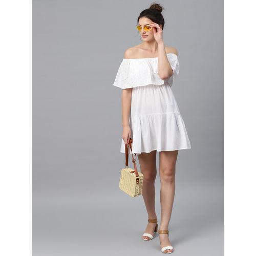 SASSAFRAS Women White Solid Off-Shoulder A-Line Dress