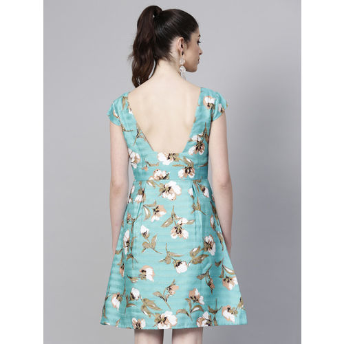 SASSAFRAS Women Blue & Off White Printed Fit and Flare Dress
